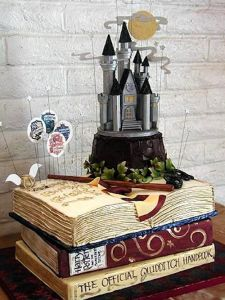 Yes, this book cake has Hogwarts in it as well as a wand and Gryffindor scarf. But it sure looks magical, indeed.