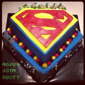 As you see, this cake is for a 40 year old man. Yet, it's one that shows Superman's symbol, Metropolis, and some rocks.