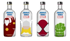Well, at least the Thor one is fitting because Absolut is a Swedish Brand. However, we should note that Iron Man is a boozer, Spider Man spends considerable time in movies as a teenager, and let's just say the Hulk should abstain.