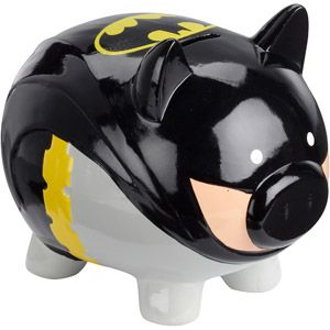 Available at Wal Mart. Still, not sure if it's fitting for Batman to have a cute piggy bank like this.