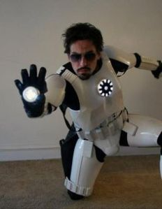Yes, this is an Imperial Stormtrooper Iron Man. Still, you have to love what he did with his uniform.