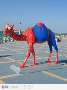 Yes, this is a Spider Man camel sculpture. I don't think it's for sale. But it exists.
