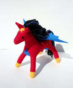 I'm sure any girl would like to have a red pony with blue wings. Also has a golden star and hooves.