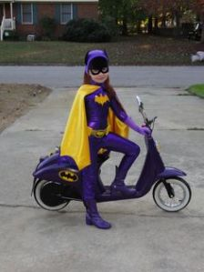 Here she is on her own little bat bike. So young yet so grown up.