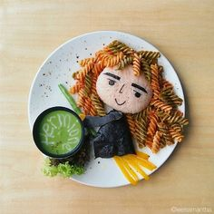 I think this is more of a lunch dish. Yet, you have to like her pasta curly hair.