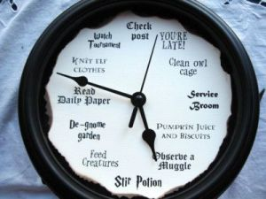 I know it's not a Weasley clock. But this one does help you know what you should do by the hour.