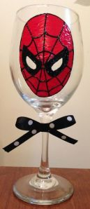 This one has Spider Man's face painted and is tied with a black ribbon with white dots. Classy.
