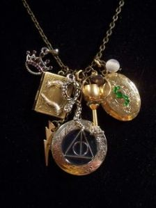 Each pendant pertains to something from the Harry Potter series. But I think it's best you wear one of these at a time.