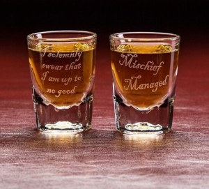 "Well, at least that's an appropriate message for a shot glass. On the other side it says, ""mischief managed."" Drink responsibly."