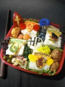 This one even has rice squares from all 4 houses. If these were sandwiches, Slytherin's would have guacamole.