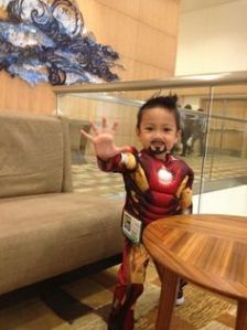 It's as if this little guy could be Tony's son. Or Robert Downey Jr.'s Probably isn't though. But so cute.