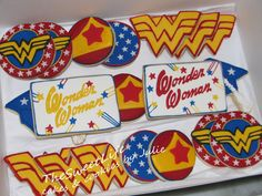 Includes Wonder Woman symbols, stars on blue, and her tiara. I'm sure these are professionally made, by the way.