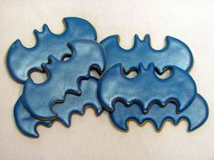 Unlike the other Batman cookies I showed, these are just bat cookies. And they're in blue to distinguished the Halloween bat ones.