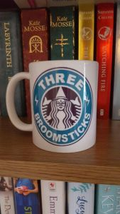 Funny, this Three Broomsticks logo looks very similar to the Starbucks one. Wonder why that is.