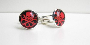 Hmmm...not sure if you should be wearing cufflinks depicting such an evil organization. And I thought the Iron Man ones were ridiculous.