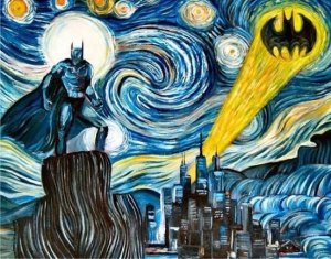 This is a Batman rendition of Van Gogh's Starry Night. And it's a brilliant one. This is perfect.