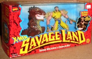 """Think of this as X-Men meets the Flinstones. From The Robot's Voice: """"No nose. Bone claws. Bad haircut. Droopy sideburns. Tattered costume. Skull shoulderpads. Massive shoulders. Tiny waist. Ugly dinosaur accessory. How in the hell does a toy this horrible get made?"""""""