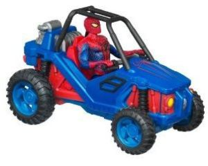 Another toy with Spider Man using unnecessary vehicle transportation. Seriously, Spider Man can get around with his web slinger.