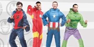 Includes Spider Man, Iron Man, Captain America, and the Hulk. And boy, do these guys seem like they're having fun. And they kind of look stupid.