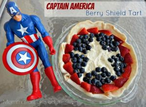 Well, it's a berry shield tart with strawberries and blueberries. Captain America action figure not included.