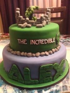 Hulk smash through wall. Alex smash through cake. Cake more suited for toddlers.