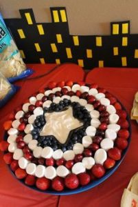 Yes, this is another Captain America fruit dish. However, this one has marshmallows and dip.