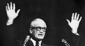 No, this isn't a middle aged Bernie Sanders with Instagram filters. This is Republican US Senator Barry Goldwater who's often credited with the resurgence of the modern American conservative movement. Way different personality.