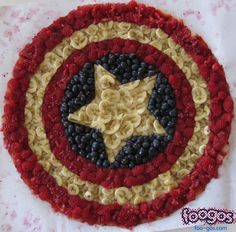 To add the red, white, and blue this consists of raspberries, banana slices, and blueberries. And yes, it looks great.