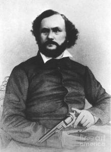 Samuel Colt's use of interchangeable parts allowed him to become one of the first to exploit the assembly line and make the revolver's mass production commercially viable. However, he was also a pioneer in mass marketing, advertising and product placement. It's said that for its first 25 years, his company produced over 400,000 of his trademark revolvers. Kind of makes me cringe.
