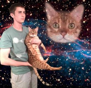 So much so that his cat gets a cosmic image. Still, this is incredibly freaky as I see it.