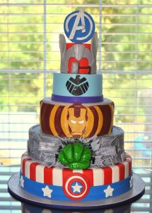 On this cake , each Avenger has a respective layer. And it seems Black Widow has one, too. Or is it Nick Fury?