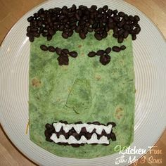 I guess this is an Incredible Hulk tortilla sandwich? Or is it a quesadilla? I can't tell.