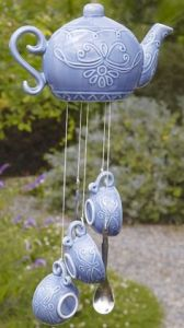 This one is a wind chime of a teapot with tea cups. But the best part about this one is that it's purple.