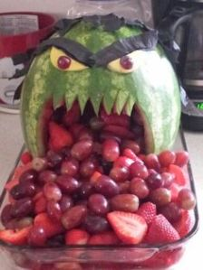 Yes, this is a Hulk salad. And sure, it's not green. But the watermelon it's presented in is.