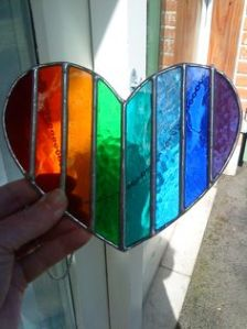 Love to see the sun shining through this heart suncatcher. Sure is quite beautiful.