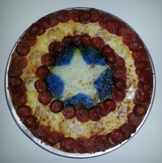 This one has pepperoni for the stripes. And blue food coloring for the center around the star.
