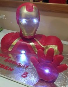 This one is said to have LED lights embedded in the cake to create the effect. Seems pretty expensive and unnecessary.