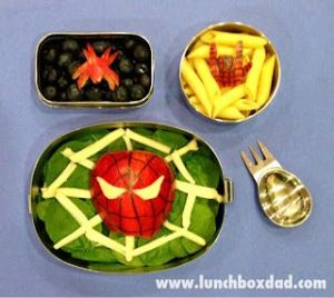 This one has Spider Man in a salad as well as spiders in the other dishes. Parents, try to make sure your kid isn't arachnaphobic before serving them this.