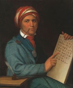 In 1821, Sequoyah completed his independent Cherokee syllabry which made literacy in the Cherokee possible. This is one of the few times in recorded history that a member of a pre-literate people has independently created an effective writing system.