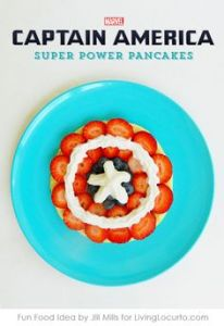 Because a pancake decorated with blueberries, strawberries, and whipped cream is all your little super soldier needs to start their day. Still, clever.