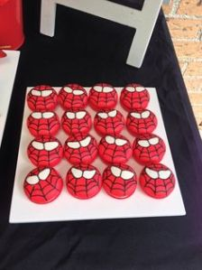 Well, these are red Spider Man cookies with icing. They're probably incredibly sweet. However, at least they look good.
