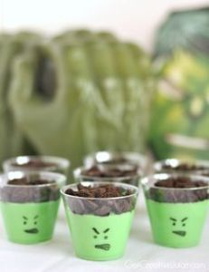 These mostly consist of green pudding with chocolate chips on top. Nevertheless, like the faces.