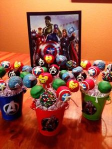 These include Captain America, Thor, Hulk, Iron Man, and Avengers log. Black Widow and Hawkeye not included.