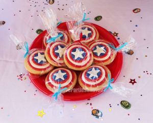 As you see, each one is painted like his shield. Great for any birthday or 4th of July picnic.