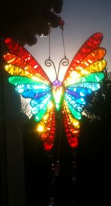 Yes, this is a rainbow butterfly suncatcher. And yes, it's in the sunlight. Amazing, isn't it?