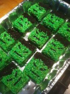Hulk snacks on these Rice Krispie treats. Treats green with sprinkles, too.