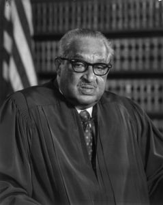 Even if he wasn't the first black Supreme Court Justice, Thurgood Marshall would still be in this series since his career as an attorney for the NAACP played a pivotal role in the Civil Rights Movement. His most famous case was Brown v. Board of Education which ruled segregation in public schools as unconstitutional.