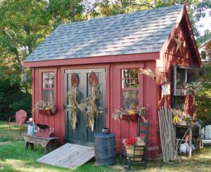 This one seems decorated for fall. But I do like how the roof and the doors stand out.