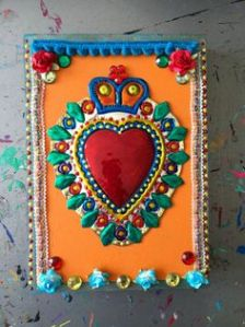 You'll find a Sacred Heart in a lot of Mexican art as far as I see. But this one is quite ornate.