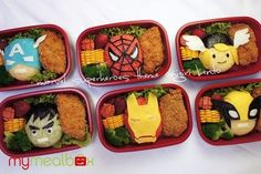 Includes Captain America, Spider Man, Thor, Hulk, Iron Man, and Wolverine. I'm sure each lunch has something different to offer.